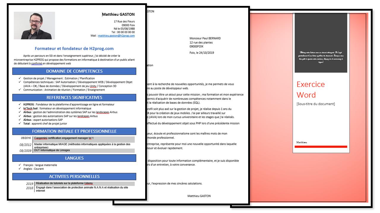 Formation bureautique réalisation word